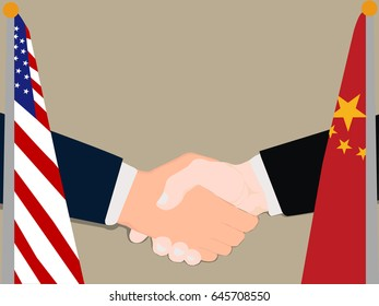 Deal Cooperation partnership United States of America (USA) and China with the businessman handshake symbol vector illustration