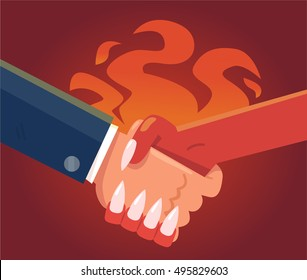 Deal with devil. Businessman making a pact with the devil.