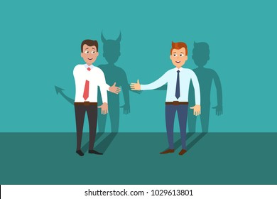 Deal with the devil. Eps vector illustration of businessman shaking hands with colleague with devil shadow.