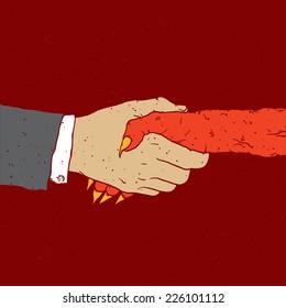 """Deal with devil"" vector illustration"