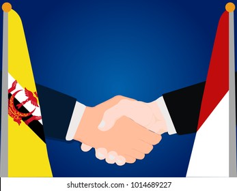 Deal state cooperation partnership Indonesia and Brunei with the businessman handshake symbol vector illustration