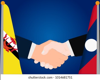Deal state cooperation partnership Laos and Brunei with the businessman handshake symbol vector illustration