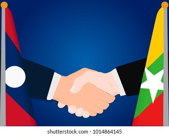 Deal state cooperation partnership Laos and Myanmar with the businessman handshake symbol vector illustration