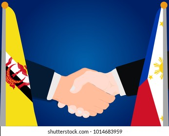 Deal state cooperation partnership philippines and Brunei with the businessman handshake symbol vector illustration