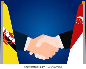 Deal state cooperation partnership Singapore and Brunei with the businessman handshake symbol vector illustration