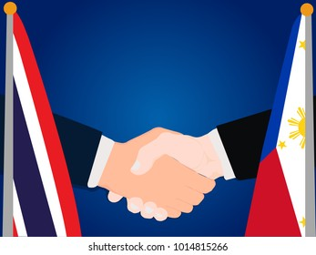 Deal state cooperation partnership Thailand and philippines with the businessman handshake symbol vector illustration