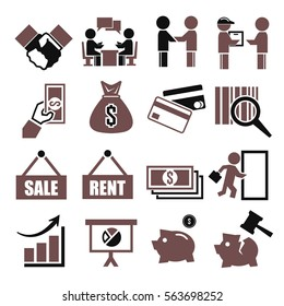 deal, trade, purchase icon set