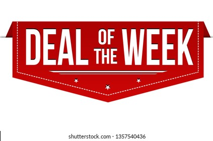 Deal of the week banner design on white background, vector illustration