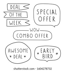 Deal of the week, special offer, combo offer, awesome deal, early bird.  Set of hand drawn badges. Vector lettering illustration on white background.