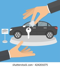 Dealership agent giving car key to a customer with a car in the background concept. Hand giving car keys to another hand. Flat design