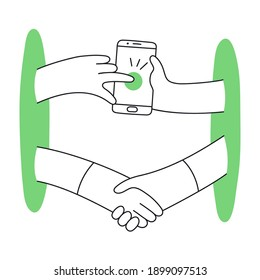 Dealing online, remote conclusion of a transaction, mobile phone deal. Remote assistance, mobile support concept, shaking hands from different ends. Flat line vector illustration on white.