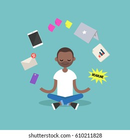 Dealing with stress. Young black man meditating with closed eyes in lotus pose surrounded by floating gadgets. Yoga and meditation / flat editable vector illustration, clip art