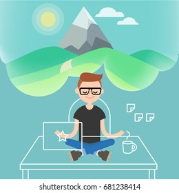 Dealing with stress. Young character meditating in lotus pose with closed eyes in office. Yoga and meditation / flat editable vector illustration, clip art