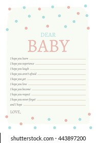 Dear Baby Printable Card for Baby and Mom-to-Be