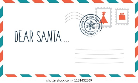 Dear Santa christmas letter in envelope with stamp. Holiday child wish list for Santa Claus. Blank postcard. Flat vector illustration