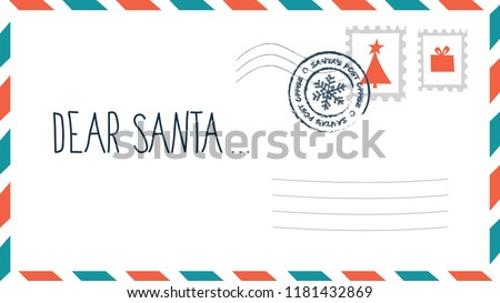 dear santa christmas letter in envelope with stamp holiday child wish list for santa claus