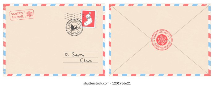 Dear santa claus mail envelope. Christmas surprise letter, child postcard with north pole postmark cachet. Postage surprised correspondence envelope, letters blank vector illustration