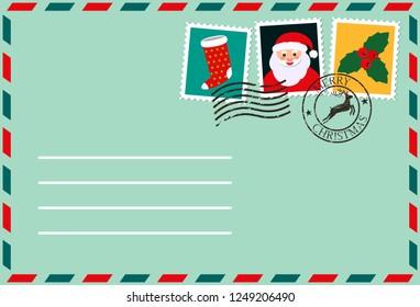 dear santa, envelope with stamps. letter of desires. flat vector illustration