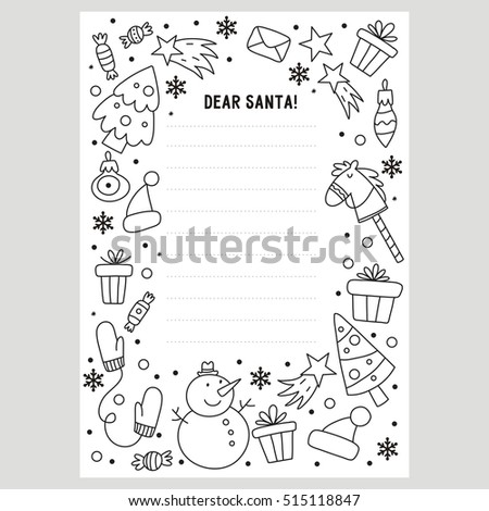 santa letter coloring page dear stock vector royalty free to template