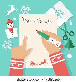 Dear Santa letter. Girl writing letter to Santa Claus on Christmas. Applique Christmas on background. Space for text. Vector illustration flat design.