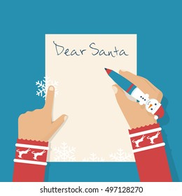 Dear Santa letter. Girl writing letter to Santa Claus on Christmas. Wish on holiday. Children's pen in the hands of a child writing a letter. Space for text. Vector illustration flat design.
