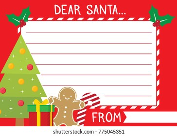 Dear Santa Letter To Santa Vector Background Illustration