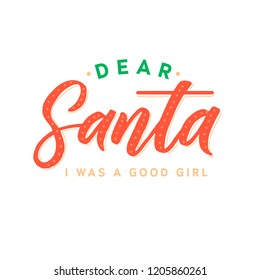 Dear Santa. Merry Christmas vector text Calligraphic Lettering design card template. Creative typography for Holiday Greeting Gift Poster. Calligraphy Font style Banner.