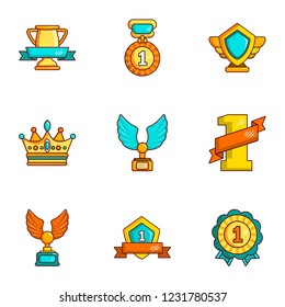 Dearness icons set. Cartoon set of 9 dearness vector icons for web isolated on white background