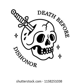 DEATH BEFORE DISHONOR SKULL WITH DAGGER TATTOO WHITE BACKGROUND