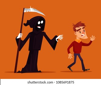 Death character chasing running after scary man mascot. Vector flat cartoon illustration