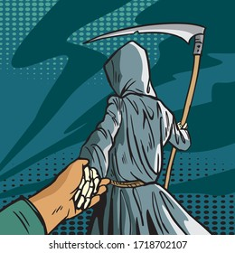Death in a cloak with a scythe leads a person by the hand. Follow me. Comic style illustration.