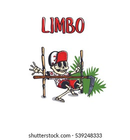 Death dances the limbo dance. Skeleton humor print black