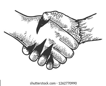 Death davil handshake engraving vector illustration. Scratch board style imitation. Black and white hand drawn image.