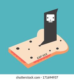 Death expire food on bread