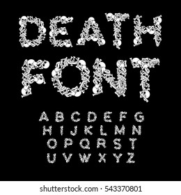 Death font. Bones ABC. Skeleton alphabet. Letters anatomy. Skull and spine. Jaw and pelvis. Hell Scary
