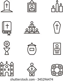 DEATH & FUNERAL set of outline icons