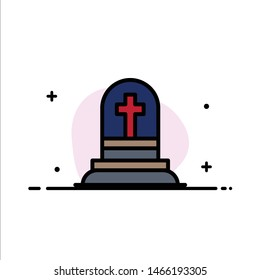 Death, Grave, Gravestone, Rip  Business Flat Line Filled Icon Vector Banner Template. Vector Icon Template background