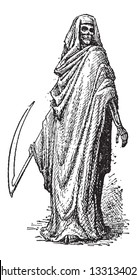 Death or the Grim Reaper, shown with a Scythe and clothed in a Black Cloak with a Hood, vintage engraved illustration. Dictionary of Words and Things - Larive and Fleury - 1895