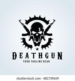 Death Gun Logo, Skull and gun logo