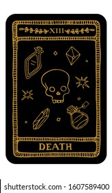 Death. Hand drawn major arcana tarot card template. Tarot vector illustration in vintage style with mystic symbols, crystals and line art stars. Witchcraft concept for tarot readers
