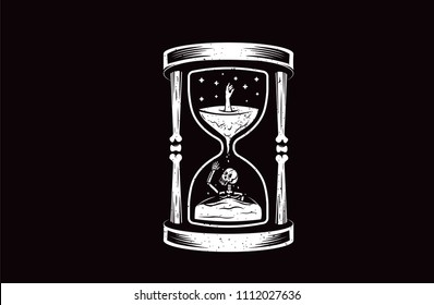 Death Hourglass illustration with skull.