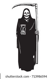 Death with hourglass and scythe. Deadline concept.Halloween character. Black and white sketch. Hand drawn vector illustration.