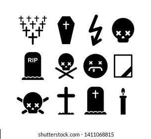Death icon set. Tombstone and cross symbol. Cemetery and skull. Candle and mourning frame