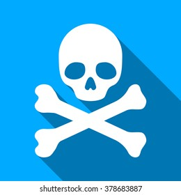 Death long shadow vector icon. Style is a flat light symbol with rounded angles on a blue square background.