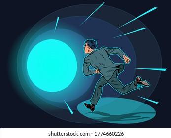 Death a man runs in a tunnel of light. Pop art retro vector illustration kitsch vintage 50s 60s style