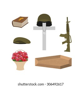 Death of a military veteran. Soldier funeral Accessories: machine gun and soldiers badge. Cross, coffin and Bible. Big basket of red roses. Vector set of grief  of Memorial Day