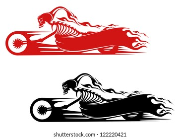 Death monster on motorcycle for biker and racer tattoo design, such a template. Jpeg version also available in gallery