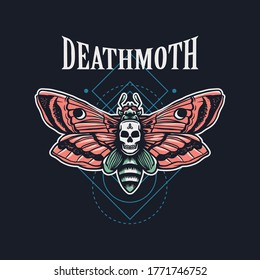 Death moth hand drawn illustration with sacred geometry