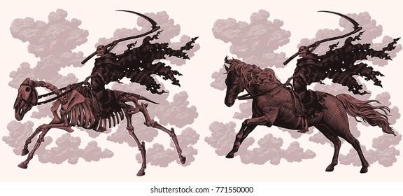 Death on horseback. Design set. Hand drawn engraving. Vector vintage illustration. Isolated on light background. 8 EPS