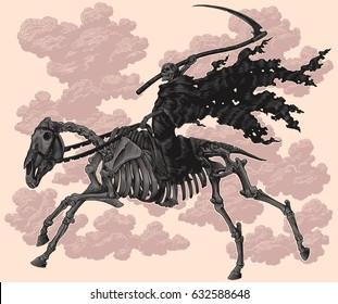 Death on horseback skeleton. Hand drawn engraving. Vector vintage illustration. 8 EPS